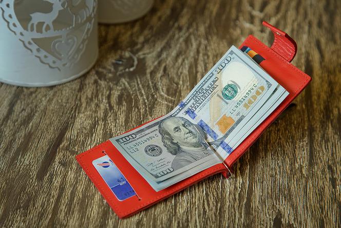 женский кожаный зажим для денег, карточек, монет